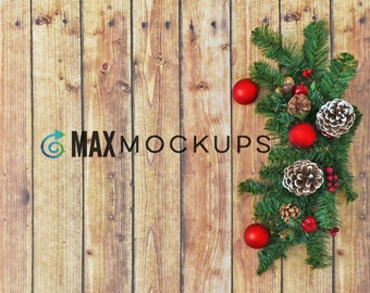 Wood background Christmas MOCKUP, decorations styled stock photography, SVG flatlay, creative product display, instant download