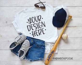 White t-shirt baseball Mockup, Bella Canvas unisex women, flatlay, blank tshirt, styled shirt photography, hat shorts bat summer, download
