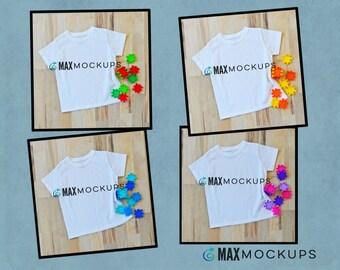 4 kids MOCKUPS bundle, white shirt bundle, flatlay, birthday, fall, Christmas, blocks, colorful styled stock photography, downloads
