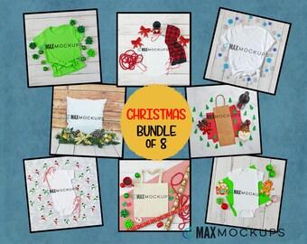 Christmas MOCKUPS bundle of 8, shirt flatlay, baby bodysuit, kids, tote, wine bag pillow displays, styled stock photography, women baby