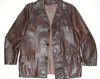 9150070fc6 Vintage Brown Men s Leather Car Coat Jacket