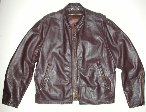 Vintage Men's Brown Leather Cafe Racer Motorcycle