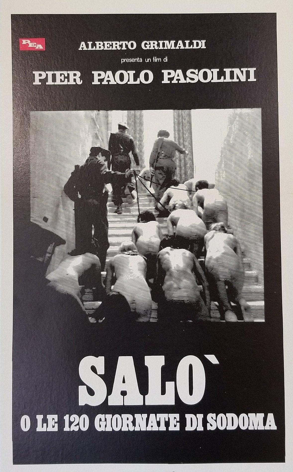 Salo 20 Days Of Sodom A Rare Original Vintage Italian Movie Poster of  the Dark Erotic Brutalist Drama by director Pier Paolo Pasolini