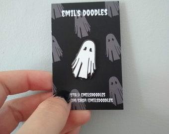 Ghost Enamel Pin •  Spooky Pin •  30mm •  Ghost •  Spooky Ghost • Cute Ghost •  Enamel Pin • Creepy Cute