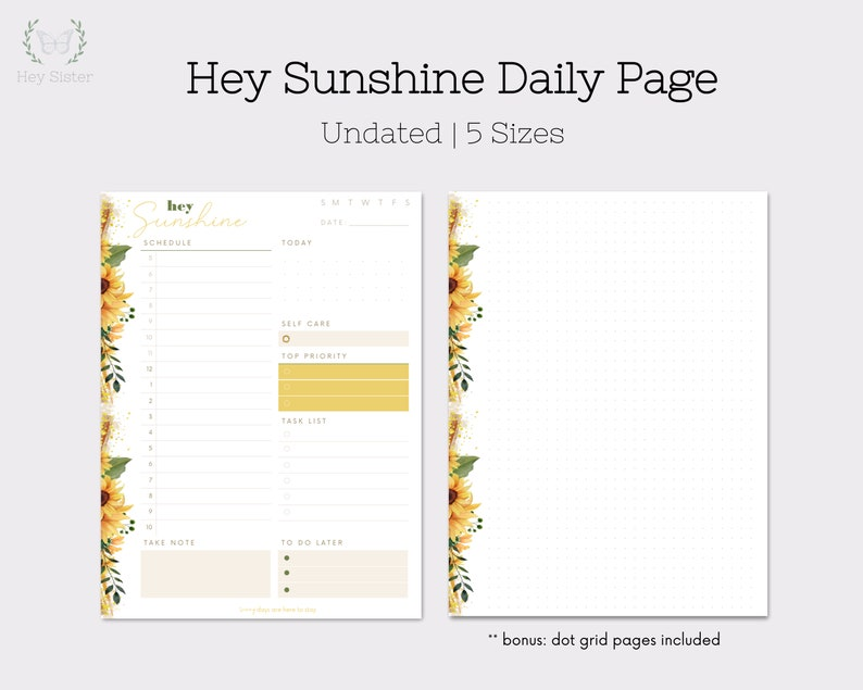 Daily Page Undated Planner Hey Sunshine Sunflowers Happy image 0