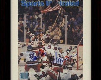 01099249deb Framed 1980 US Olympic Hockey Sports Illustrated Autograph Replica Print -  3/3/1980 8x10 Print
