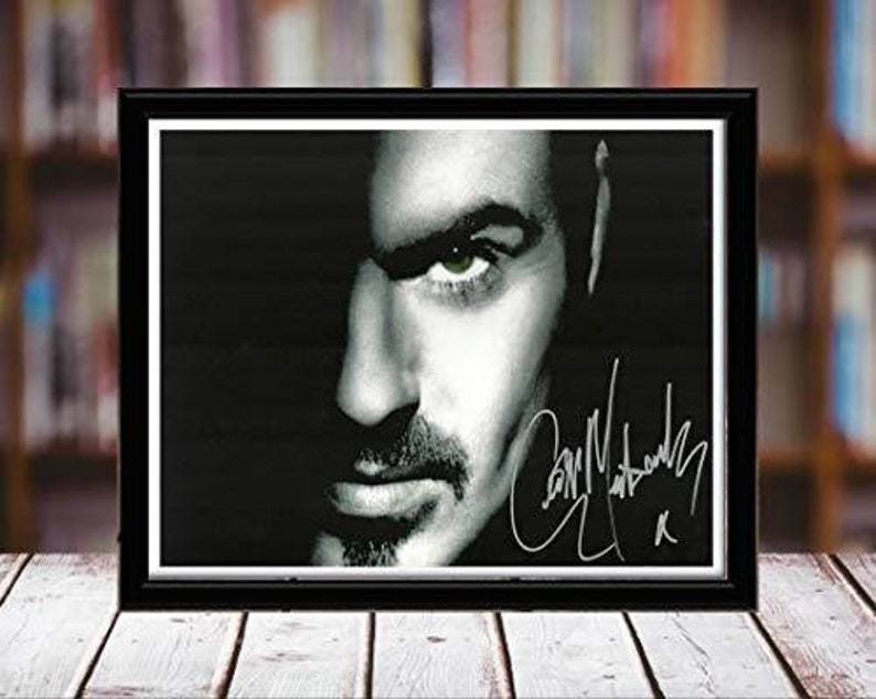 Desktop Frame Spotlight Landscape George Michael Autograph Replica Print