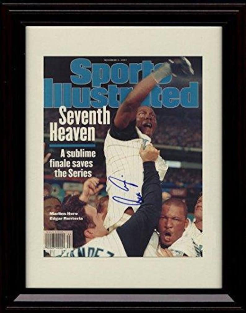 Marlins Champs 1997 8x10 Print Framed Edgar Renteria Sports Illustrated Autograph Print