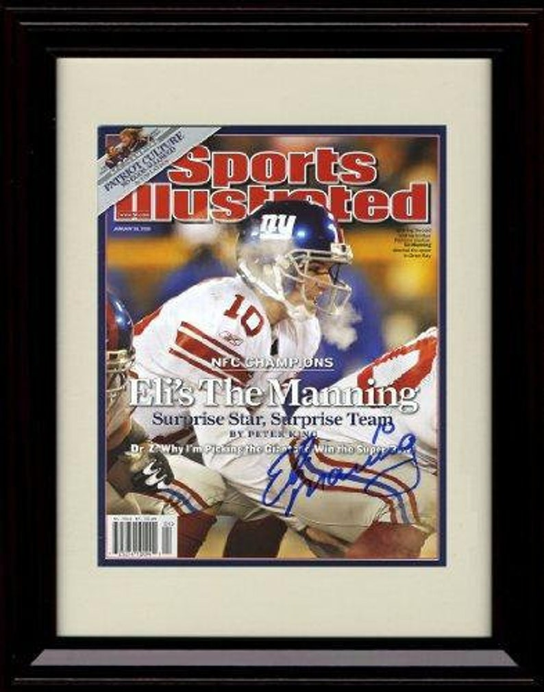 Playoff Hero 8x10 Print Framed Eli Manning Sports Illustrated Autograph Replica Print