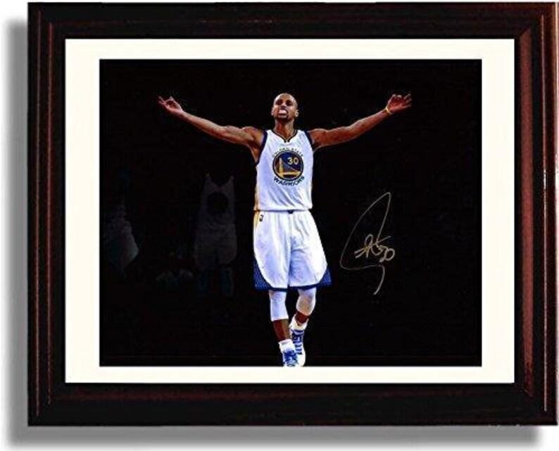 Framed Stephen Curry Spotlight Autograph Replica Print Golden State Warriors 8x10 Print