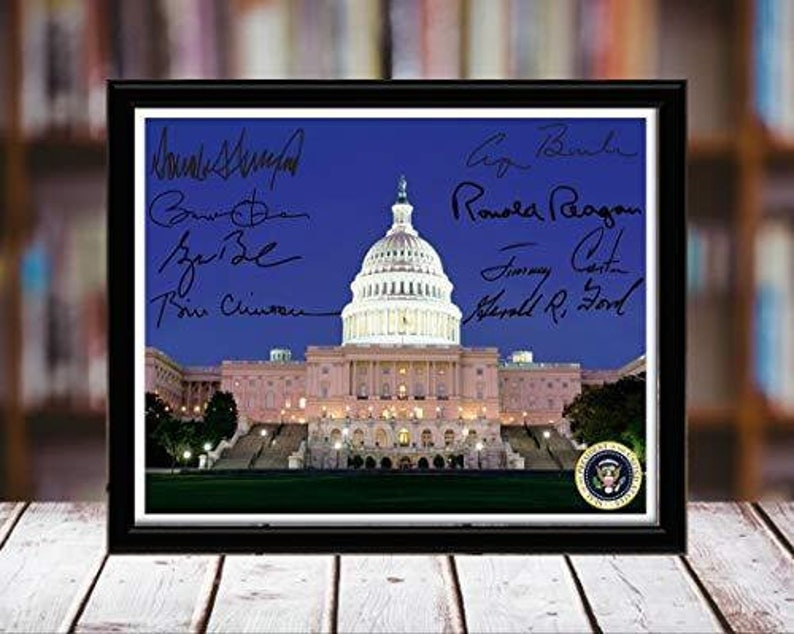 Capitol Building Autograph Replica Print 8x10 Desktop Framed Print Landscape