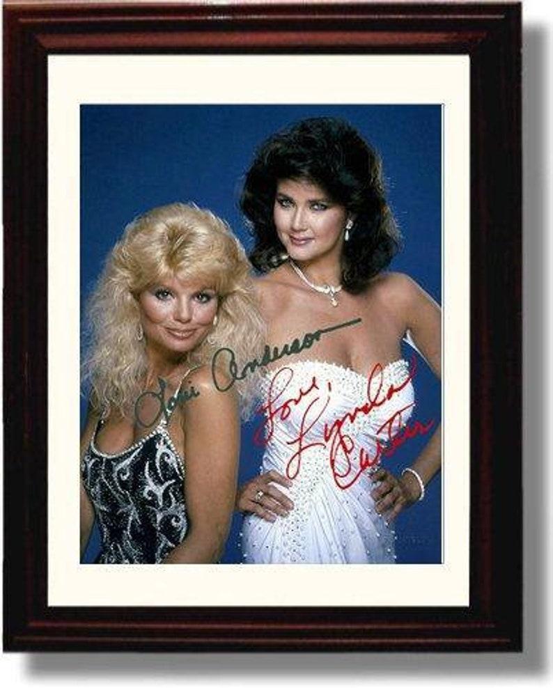 Portrait 8x10 Print Framed Lynda Carter and Loni Anderson Autograph Replica Print