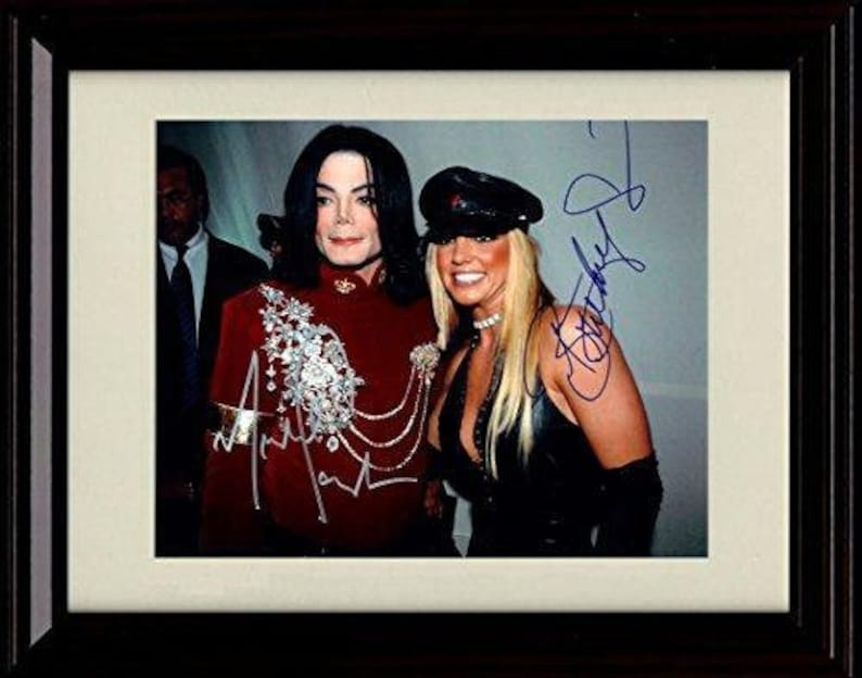 Framed Britney Spears and Michael Jackson Autograph Replica Print 8x10 Print