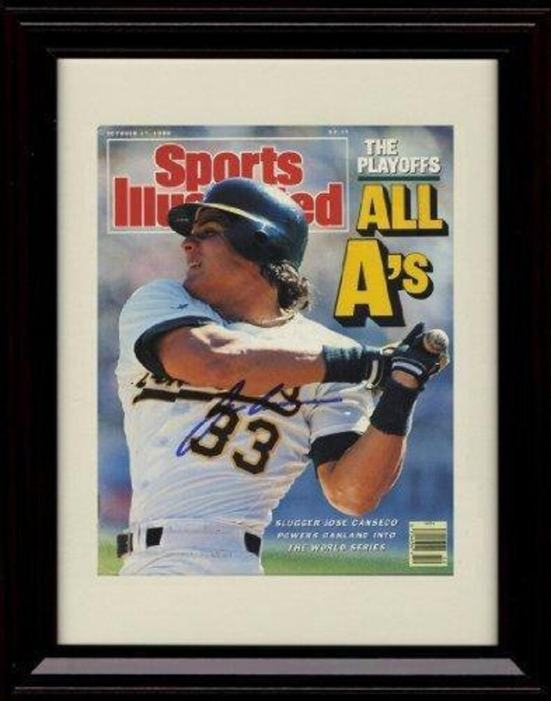 Framed Jose Canseco Sports Illustrated Autograph Replica Print Bash Brothers 8x10 Print