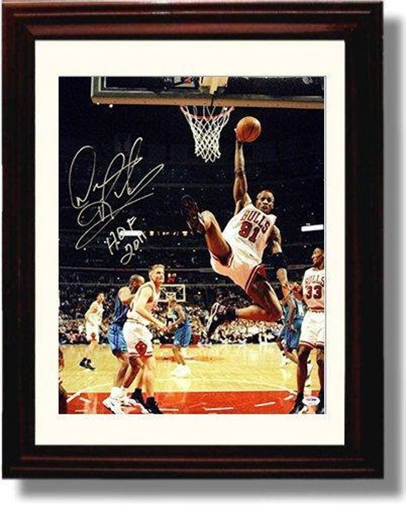 huge selection of c70a9 e2f30 Framed Dennis Rodman Autograph Replica Print 8x10 Print