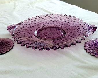 RARE Duncan Miller Purple/Amethyst Hobnail Platter & Candle stick Set