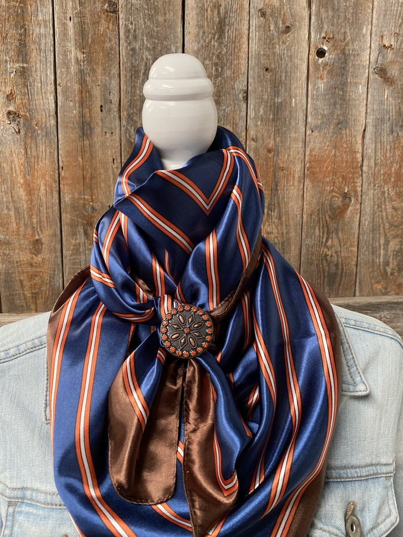 wRC547C Orange and Blue Stripes wild Rag  Scarf w119l Slide
