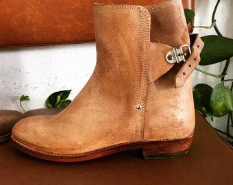 808b6d8a95 Tan Rawhide Buckle Boots