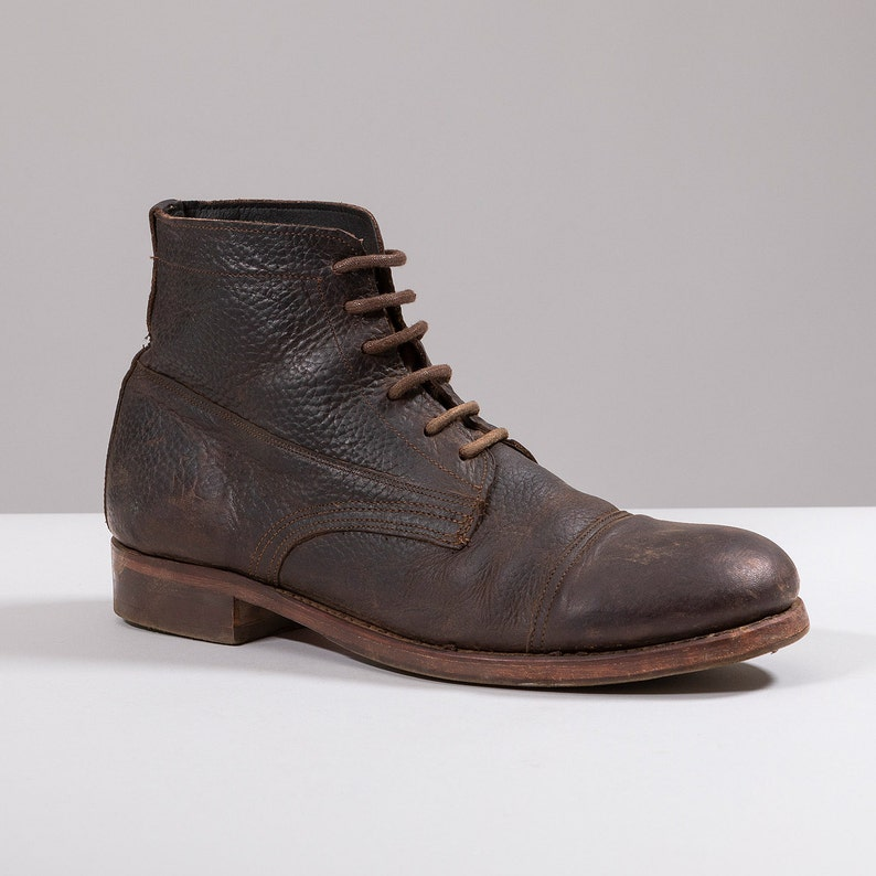 Men's Steampunk Clothing, Costumes, Fashion Irregular toe Victorian work Boots $201.23 AT vintagedancer.com