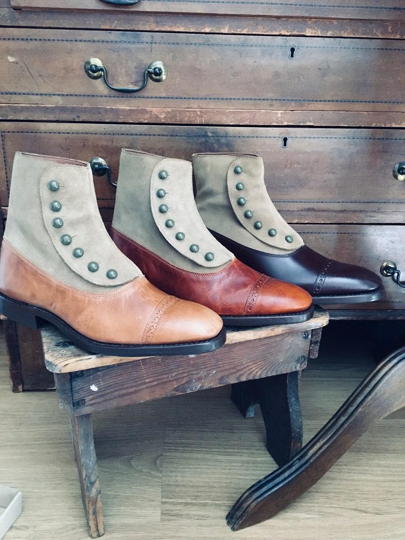 Edwardian Men's Shoes & Boots | 1900, 1910s Victorian Short Button Boots $264.12 AT vintagedancer.com
