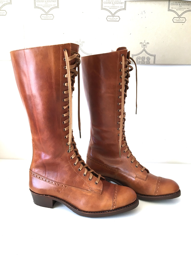 Vintage Shoes, Vintage Style Shoes  1930s Tall Ladies Lace up Boots $268.00 AT vintagedancer.com
