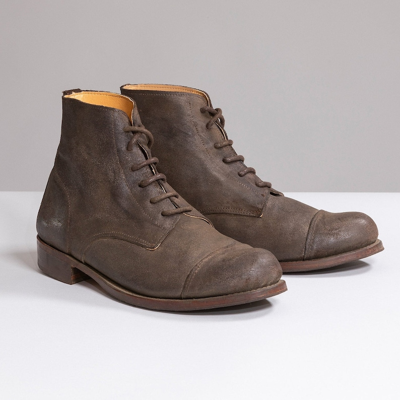 Steampunk Boots and Shoes for Men Grey Brown waxed suede victorian Work boots $145.00 AT vintagedancer.com
