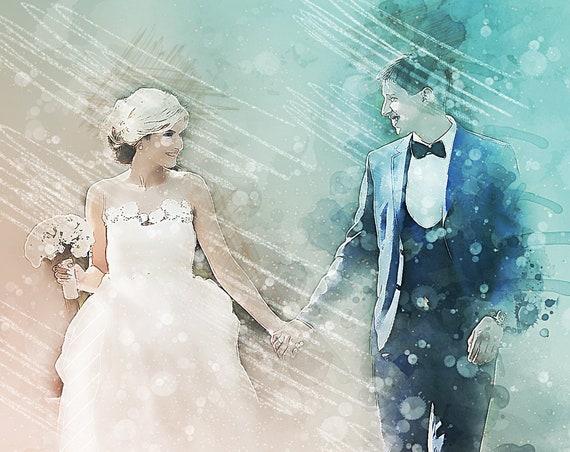 Exclusive Custom Watercolor Wedding Painting, Custom Portrait, Painting from Photo, Wedding Portrait, Watercolour Painting, Custom Art