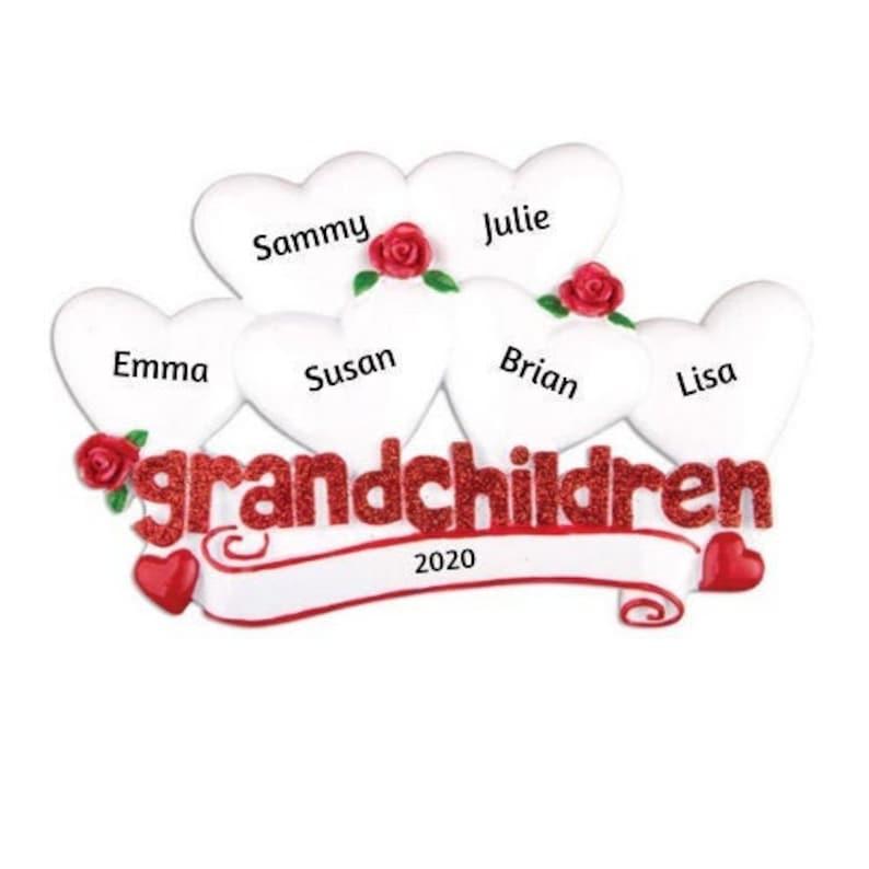 6 Grandkids Hand Personalized Christmas Ornament Grandchildren with 6 Hearts Personalized Christmas Ornament