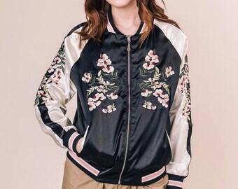 55e9d5d16 Embroidered bomber jacket /satin jacket /reversible coat