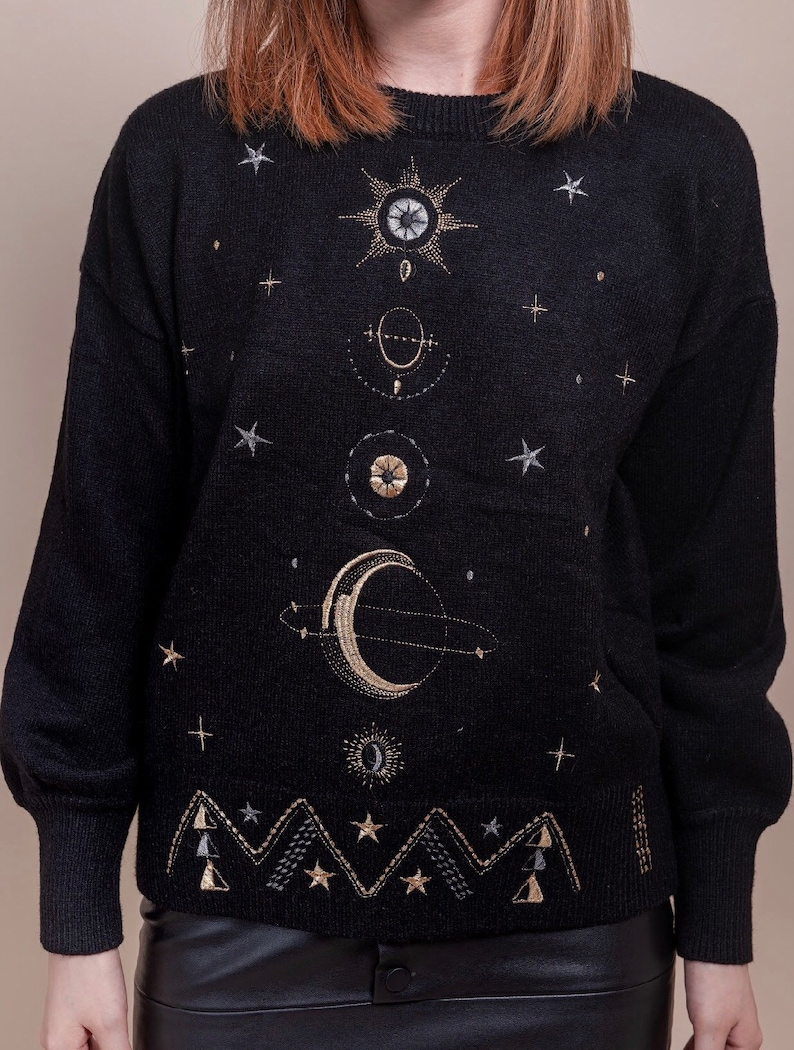 Galaxy Embroidered Sweater Stars Embroidered Jumper KnitwearPull Over Black Sweater