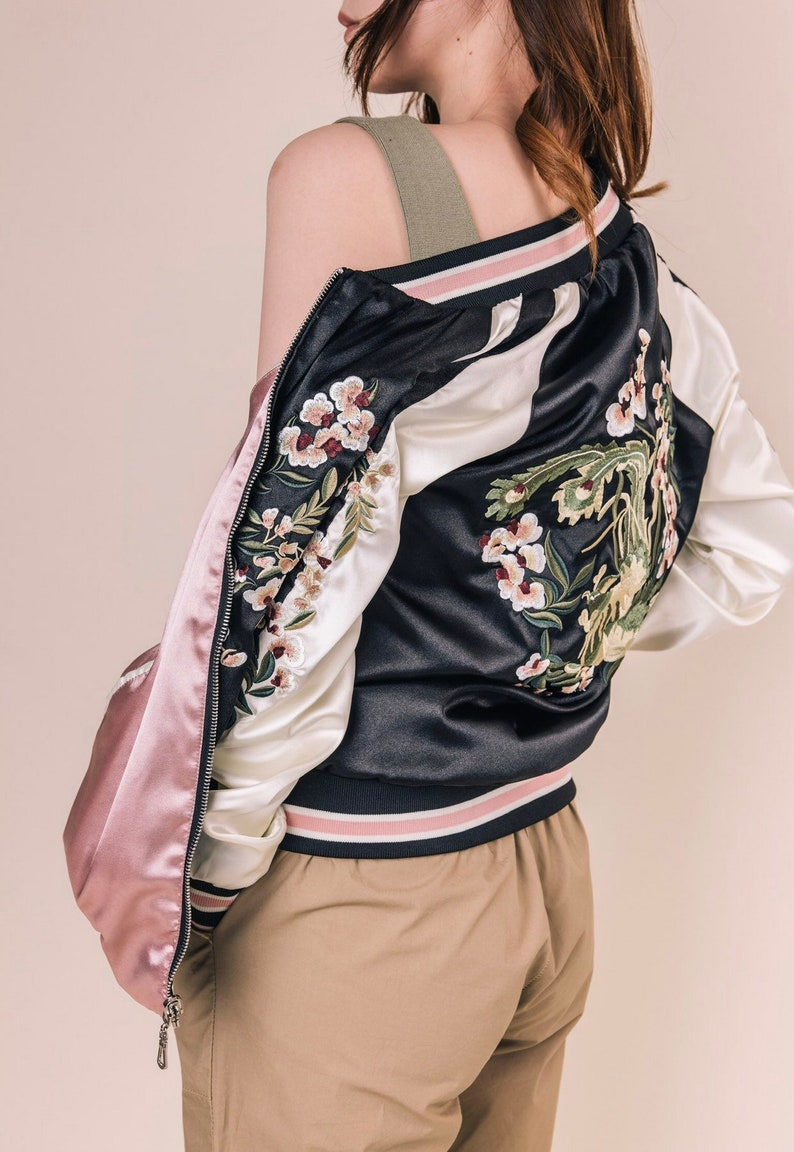 Embroidered Reversible Souvenir Bomber Jacket