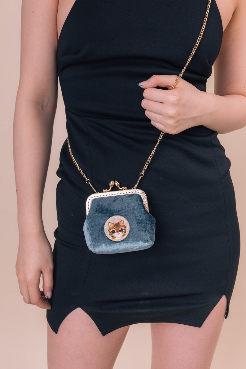Hand made blue velvet adorable kitty pouchcards and cash purse
