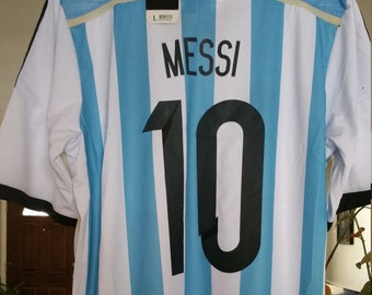 dad889c8e Vintage  10 Messi Argentina World Cup Soccer Throwback handmade jersey Size  Med