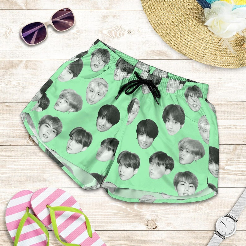 Green BTS All Over Shorts Perfect gift for Armys