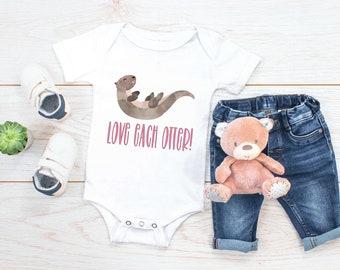 49fe523c865b9 Love Each Otter Funny Baby Bodysuit