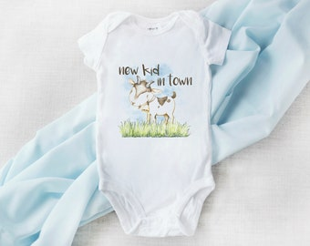 Chinese Word Sheep Goat Long Sleeve Natural Organic Baby Onesie Bodysuit Set for Newborn Boys Girls