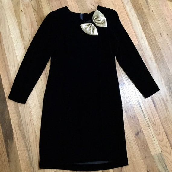 Vintage Halston III Black Velvet Bow Dress