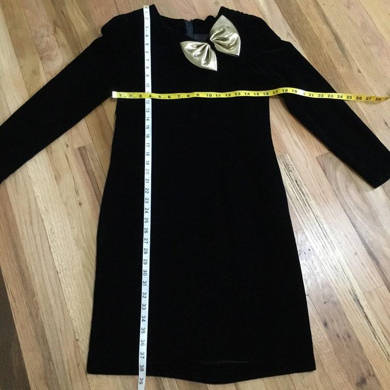 Vintage Halston III Black Velvet Bow Dress