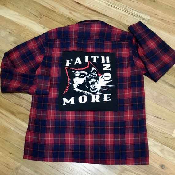 Vintage Plaid Flannel Faith No More Band Patch Shi