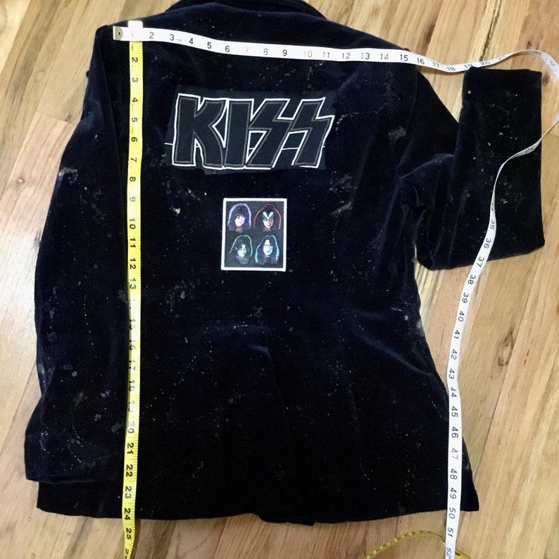 Vintage Glam Rock n Roll Band Jacket-Distressed Splatter Velvet KISS Blazer
