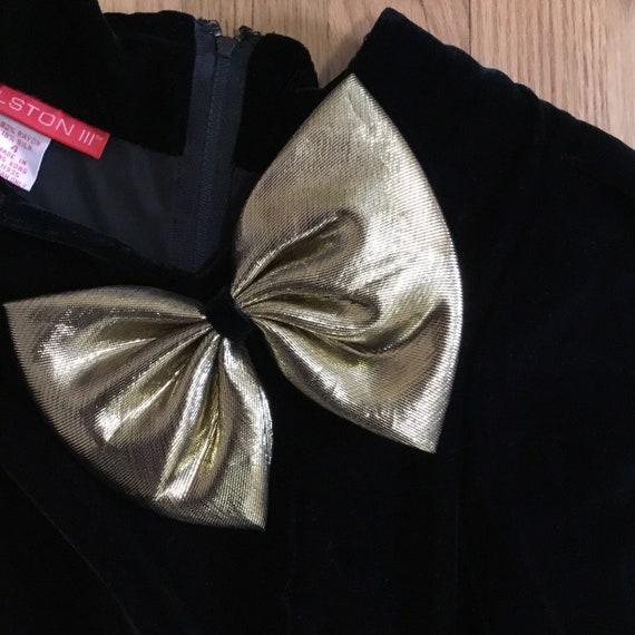 Vintage Halston III Black Velvet Bow Dress - image 5