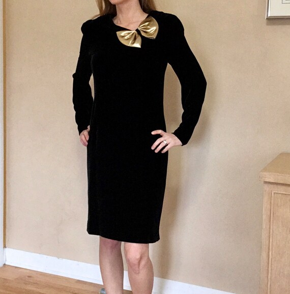Vintage Halston III Black Velvet Bow Dress - image 3