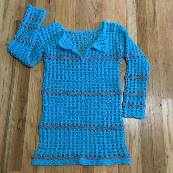 Trendy Vintage Crochet Pull On Dress