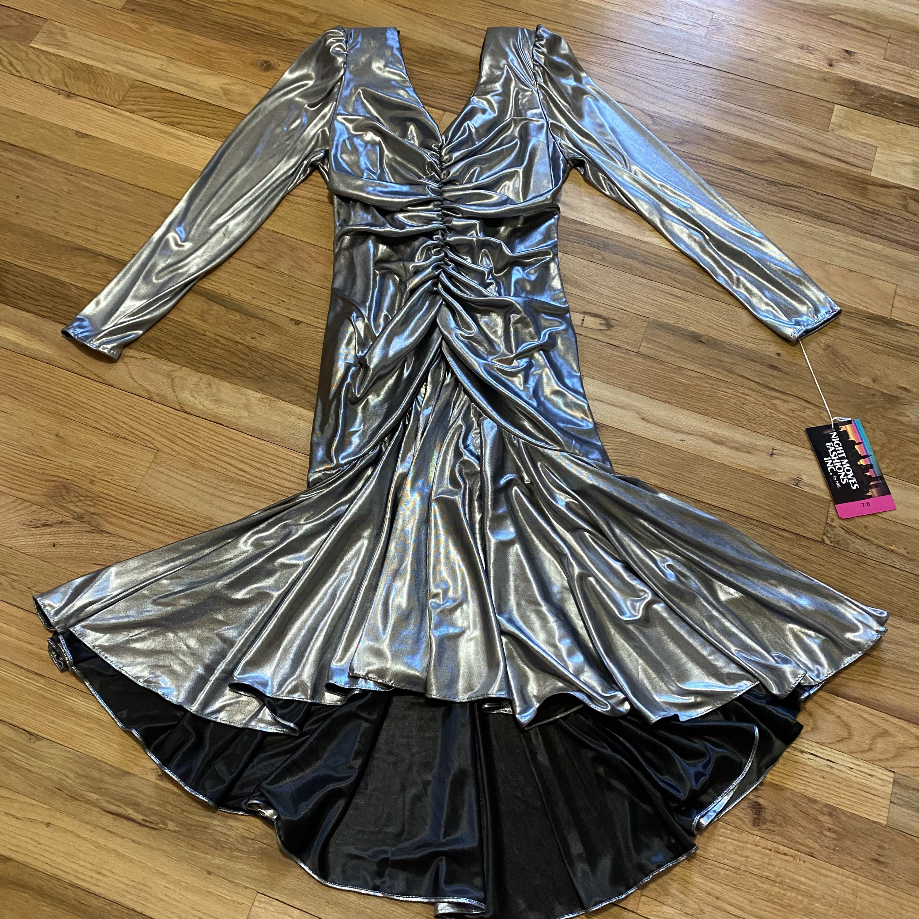 80s Dresses | Casual to Party Dresses Vintage 80S Ruched Mermaid Silver Metallic Glam Prom Cocktail Dress $0.00 AT vintagedancer.com