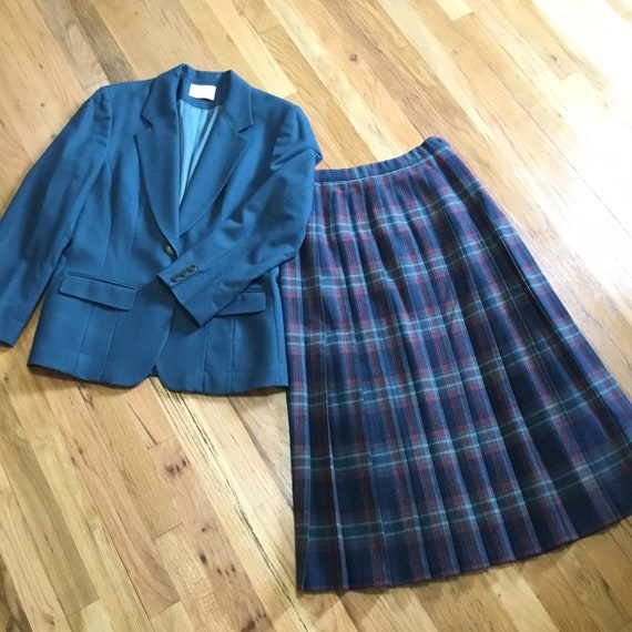 Vintage Pendleton Blazer & Pleated Skirt Set