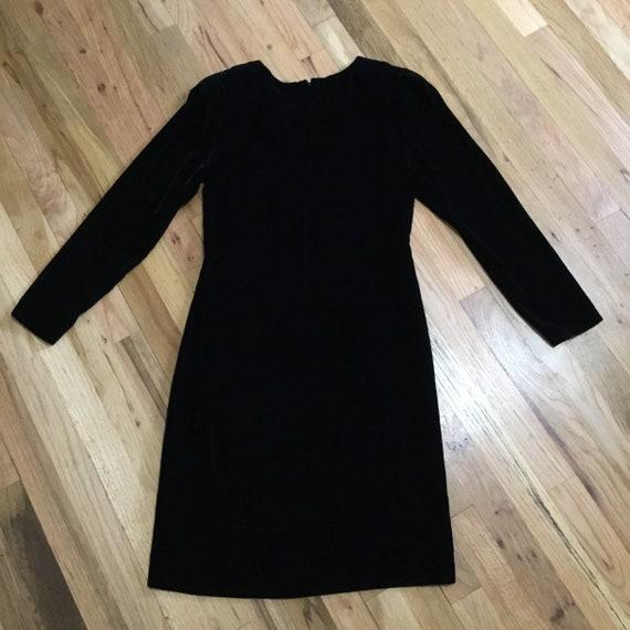 Vintage Halston III Black Velvet Bow Dress - image 2