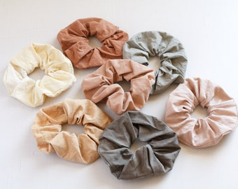 Plastic free cotton scrunchy Naturally dyed cotton Scrunchies Earthy color ties Eco friendly gift VSCO girl Sustainable made elastics