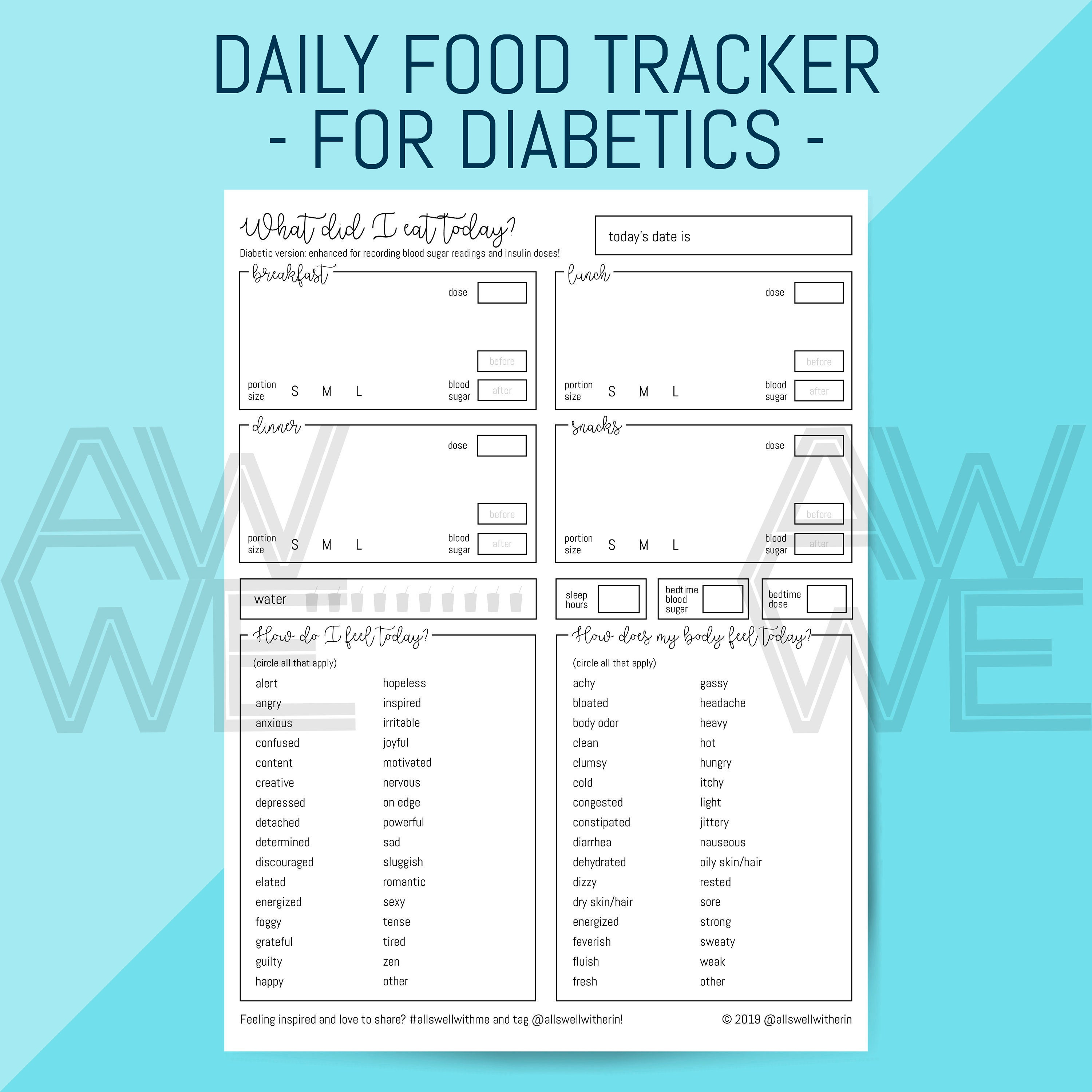 PRINTABLE Food + Mood Journal for Diabetics, Printable Worksheet for Meal,  Emotion and Glucose/Insulin Tracking, Instant Download