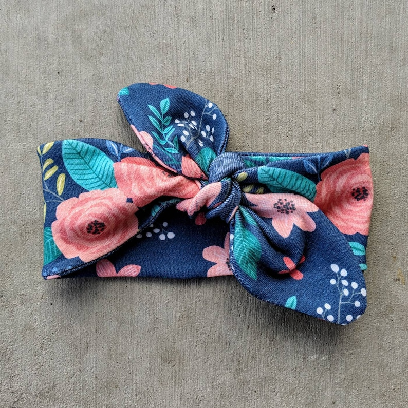 headband adjustable Teal and Coral girlie floral newborn Navy and Coral baby girl Organic cotton knit knotted headband baby shower