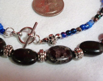 labradorite, pewter, and blue glass bead necklace
